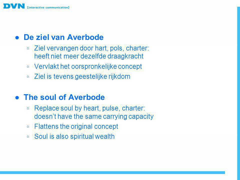● De ziel van Averbode ◦ Ziel vervangen door hart, pols, charter: heeft niet meer dezelfde draagkracht ◦ Vervlakt het oorspronkelijke concept ◦ Ziel i