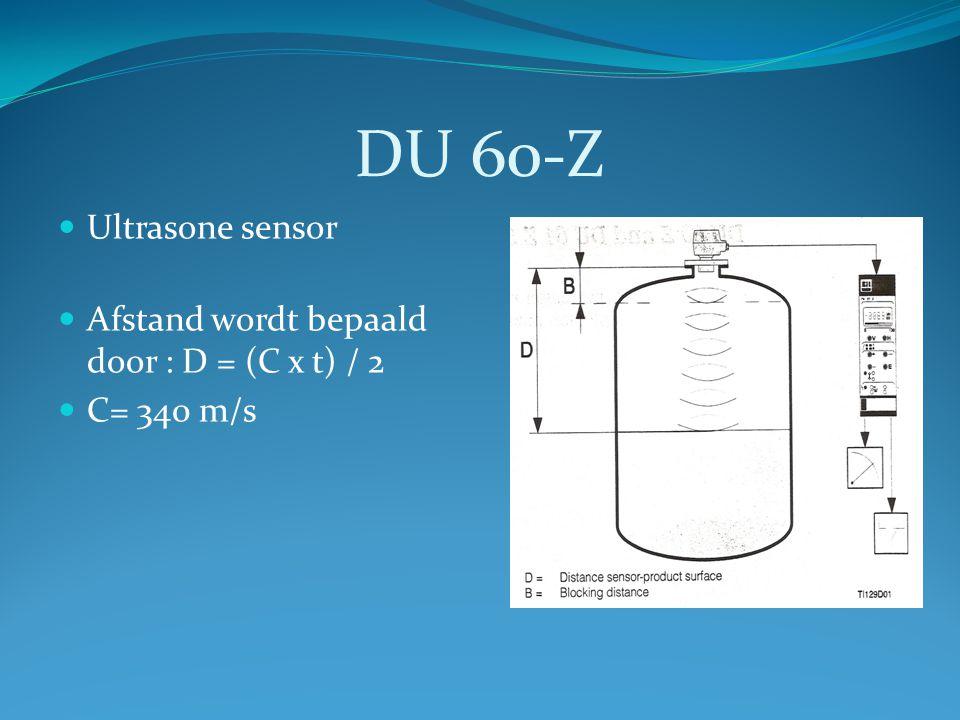 DU 60-Z Ultrasone sensor Afstand wordt bepaald door : D = (C x t) / 2 C= 340 m/s