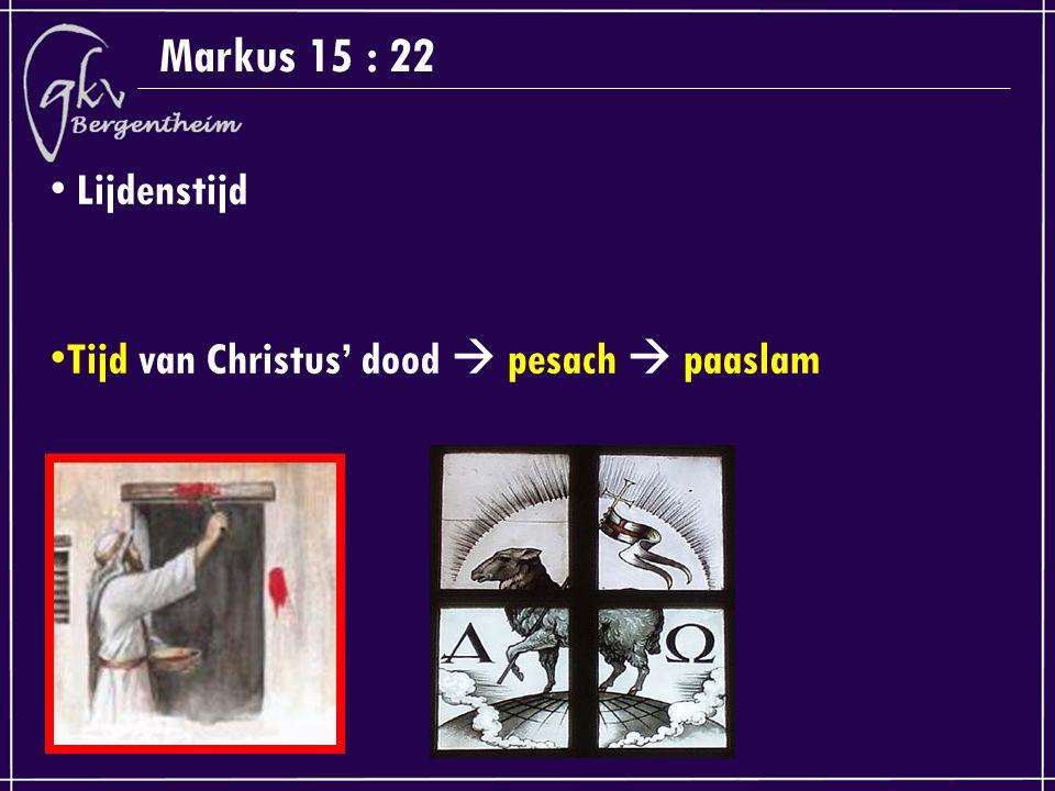 Markus 15 : 22 Lijdenstijd Tijd van Christus' dood  pesach  paaslam