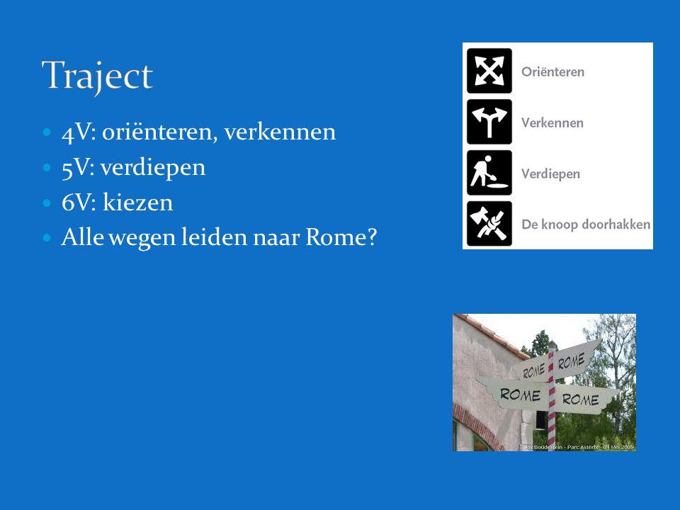 4V: oriënteren, verkennen 5V: verdiepen 6V: kiezen Alle wegen leiden naar Rome?
