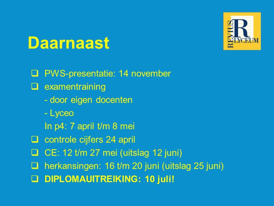 Daarnaast  PWS-presentatie: 14 november  examentraining - door eigen docenten - Lyceo In p4: 7 april t/m 8 mei  controle cijfers 24 april  CE: 12