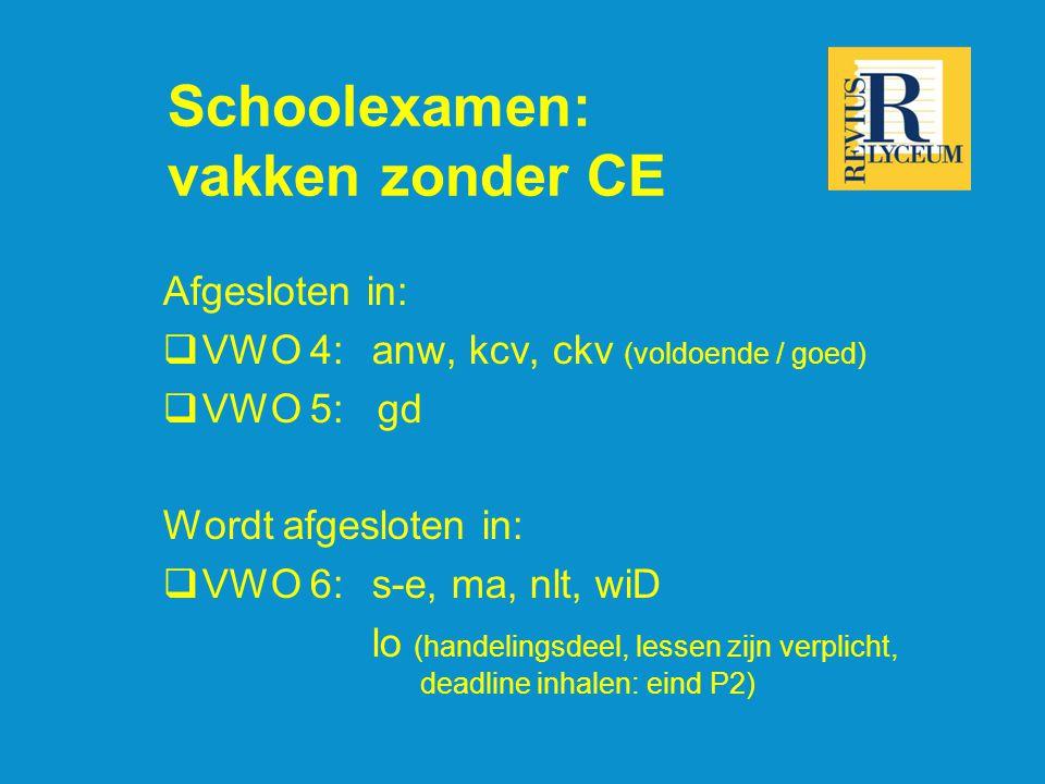 Schoolexamen: vakken zonder CE Afgesloten in:  VWO 4:anw, kcv, ckv (voldoende / goed)  VWO 5: gd Wordt afgesloten in:  VWO 6: s-e, ma, nlt, wiD lo