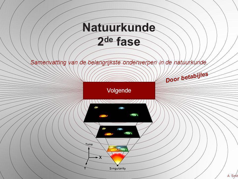 Natuurkunde 2 de fase Samenvatting van de belangrijkste onderwerpen in de natuurkunde. Volgende A. Smit Door betabijles