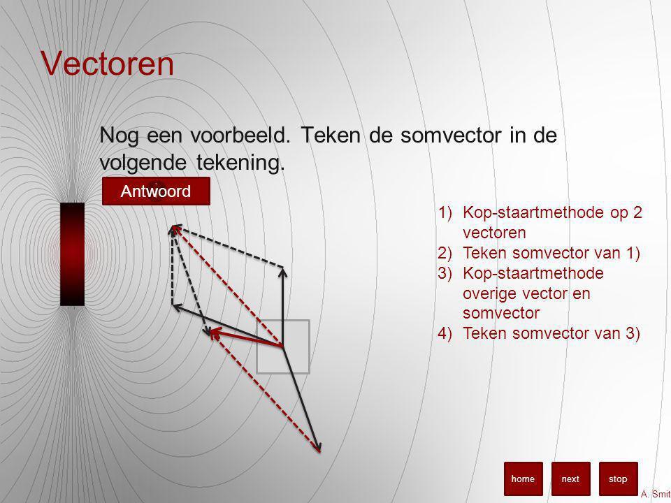 Vectoren Nog een voorbeeld.Teken de somvector in de volgende tekening.