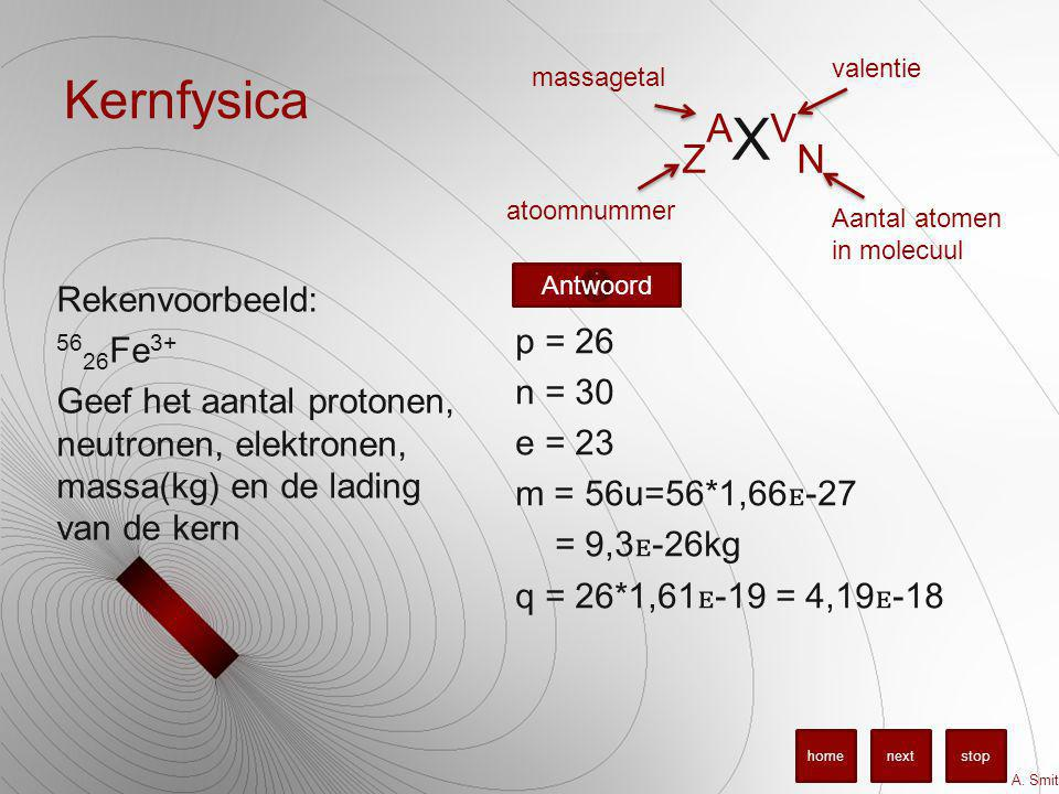 Kernfysica Rekenvoorbeeld: 56 26 Fe 3+ Geef het aantal protonen, neutronen, elektronen, massa(kg) en de lading van de kern p = 26 n = 30 e = 23 m = 56