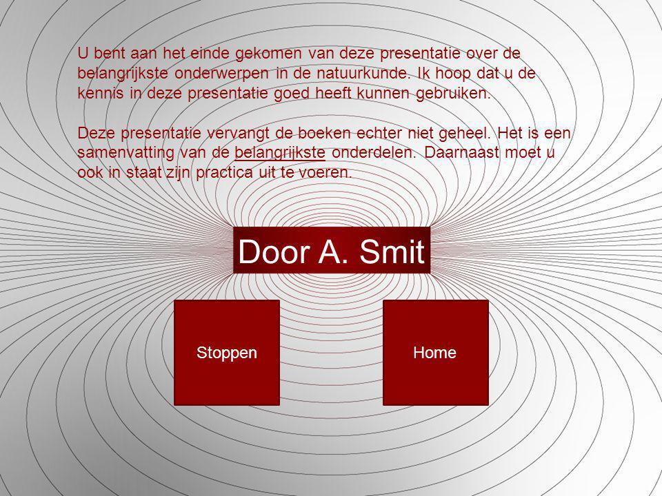 Door A. Smit U bent aan het einde gekomen van deze presentatie over de belangrijkste onderwerpen in de natuurkunde. Ik hoop dat u de kennis in deze pr