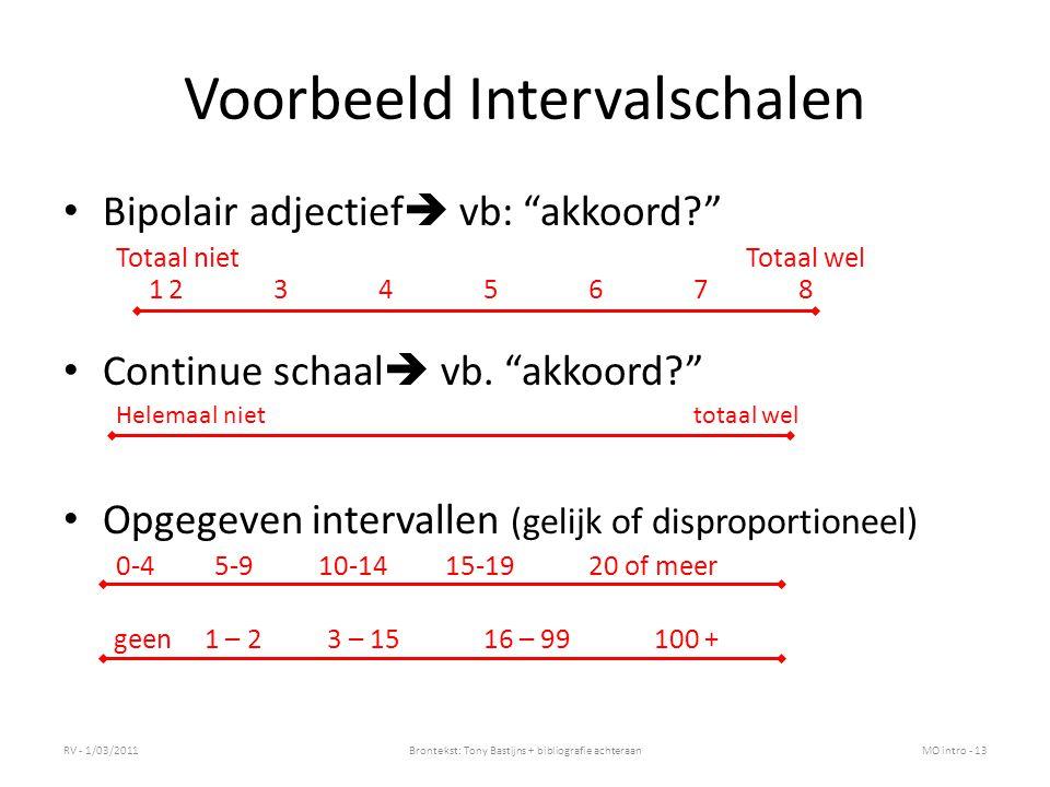 Voorbeeld Intervalschalen Bipolair adjectief  vb: akkoord? Totaal niet Totaal wel 12345678 Continue schaal  vb.