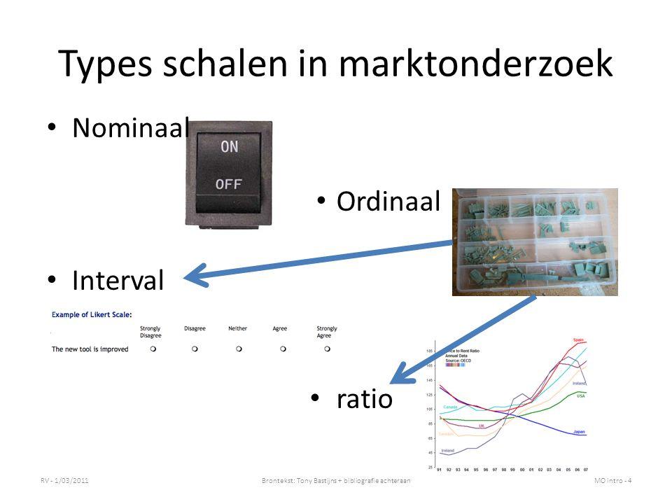 Types schalen in marktonderzoek Nominaal Ordinaal Interval ratio RV - 1/03/2011Brontekst: Tony Bastijns + bibliografie achteraanMO intro - 4