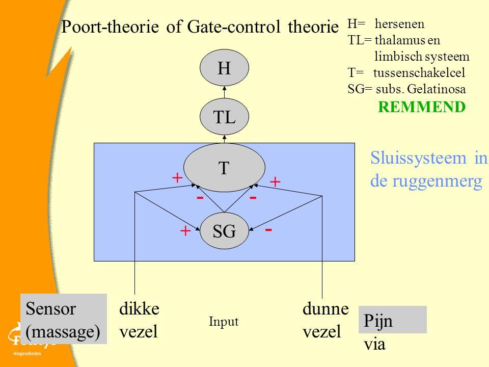 Poort-theorie of Gate-control theorie dunne vezel dikke vezel Sluissysteem in de ruggenmerg Pijn via Sensor (massage) H T TL SG H= hersenen TL= thalamus en limbisch systeem T= tussenschakelcel SG= subs.