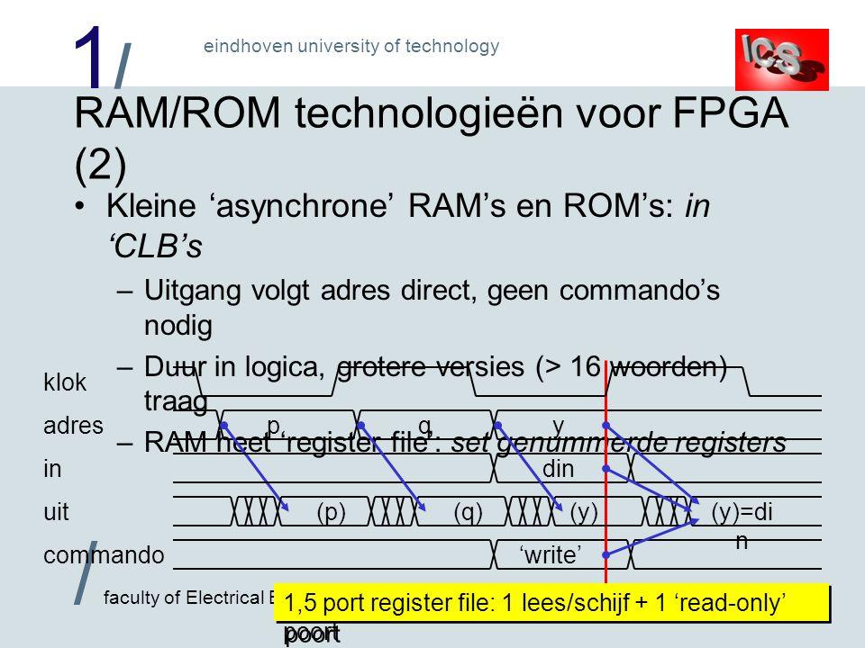 1/1/ / faculty of Electrical Engineering eindhoven university of technology Timing in IDaSS De 'CLOCK' knop simuleert hele klokslagen –Laat toestand vlak vóór aktieve klokflank zien –'Huidige' opgeslagen waarden –Hieruit combinatorisch 'berekende' waarden Klaar voor laden in registers, geheugens, FSM toestanden Hierachter zit echter volledige tijd-simulatie .