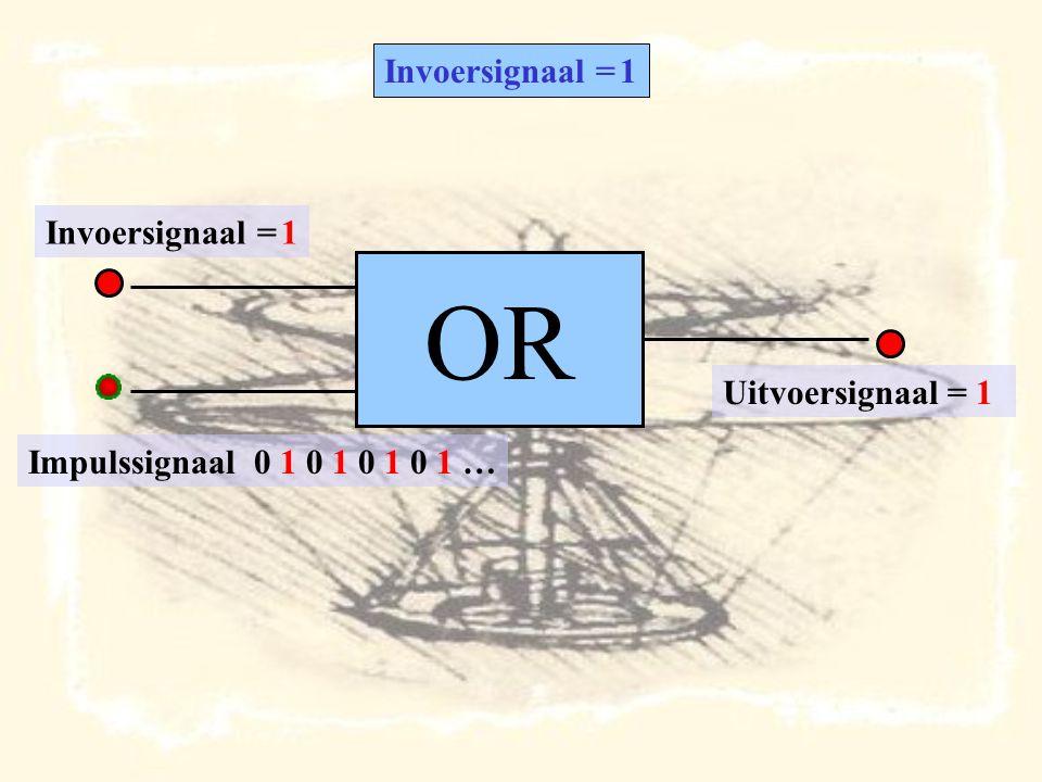 OR Impulssignaal 0 1 0 1 0 1 0 1 … Invoersignaal = 1 Uitvoersignaal = 1 Invoersignaal = 1