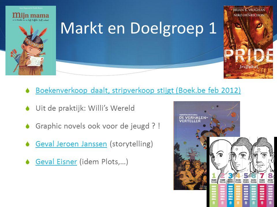 Markt en Doelgroep 1  Boekenverkoop daalt, stripverkoop stijgt (Boek.be feb 2012) Boekenverkoop daalt, stripverkoop stijgt (Boek.be feb 2012)  Uit d