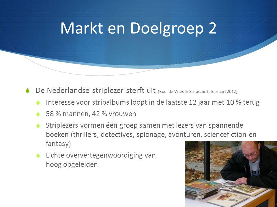 Markt en Doelgroep 2  De Nederlandse striplezer sterft uit (Rudi de Vries in Stripschrift februari 2012)  Interesse voor stripalbums loopt in de laa