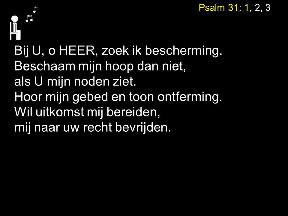 Psalm 31: 1, 2, 3 Bij U, o HEER, zoek ik bescherming. Beschaam mijn hoop dan niet, als U mijn noden ziet. Hoor mijn gebed en toon ontferming. Wil uitk