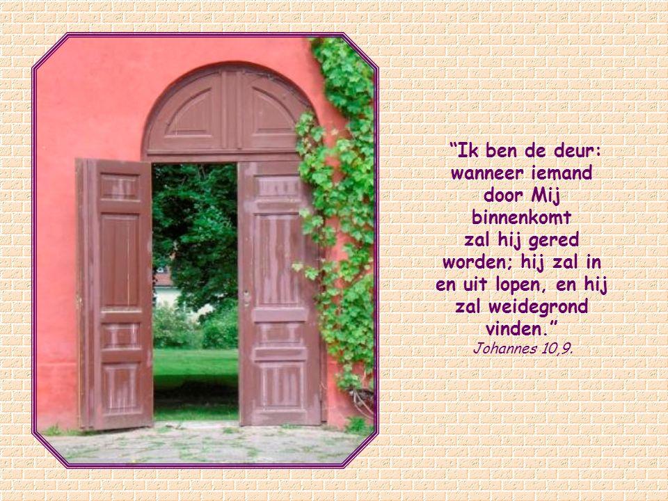 Het beeld van de deur doet denken aan een ander beeld dat Jezus heeft gebruikt: Ik ben de weg… Niemand kan bij de Vader komen dan door Mij .