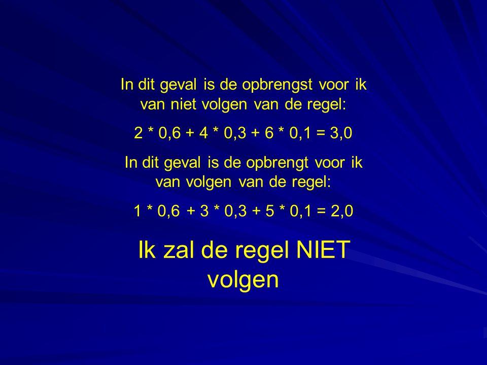 In dit geval is de opbrengst voor ik van niet volgen van de regel: 2 * 0,6 + 4 * 0,3 + 6 * 0,1 = 3,0 In dit geval is de opbrengt voor ik van volgen van de regel: 1 * 0,6 + 3 * 0,3 + 5 * 0,1 = 2,0 Ik zal de regel NIET volgen