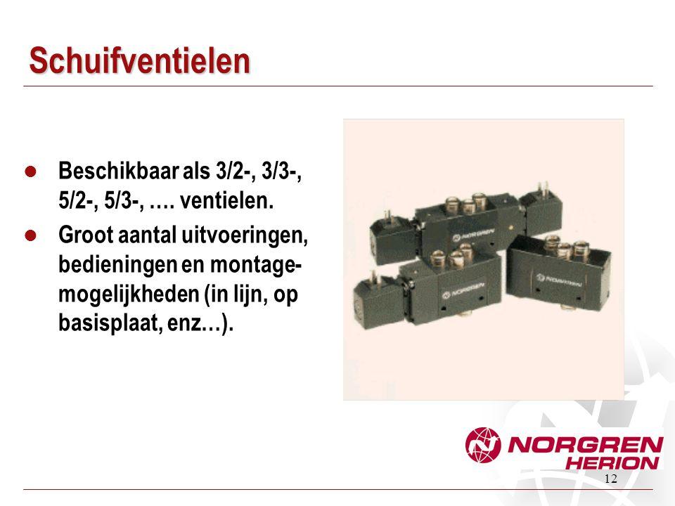 12 Schuifventielen Beschikbaar als 3/2-, 3/3-, 5/2-, 5/3-, …. ventielen. Groot aantal uitvoeringen, bedieningen en montage- mogelijkheden (in lijn, op