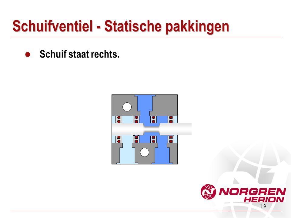 19 Schuifventiel - Statische pakkingen Schuif staat rechts.