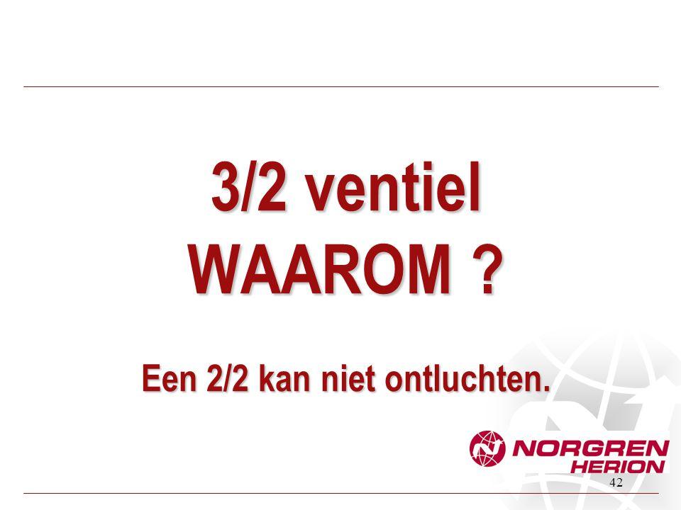 42 3/2 ventiel WAAROM ? Een 2/2 kan niet ontluchten.