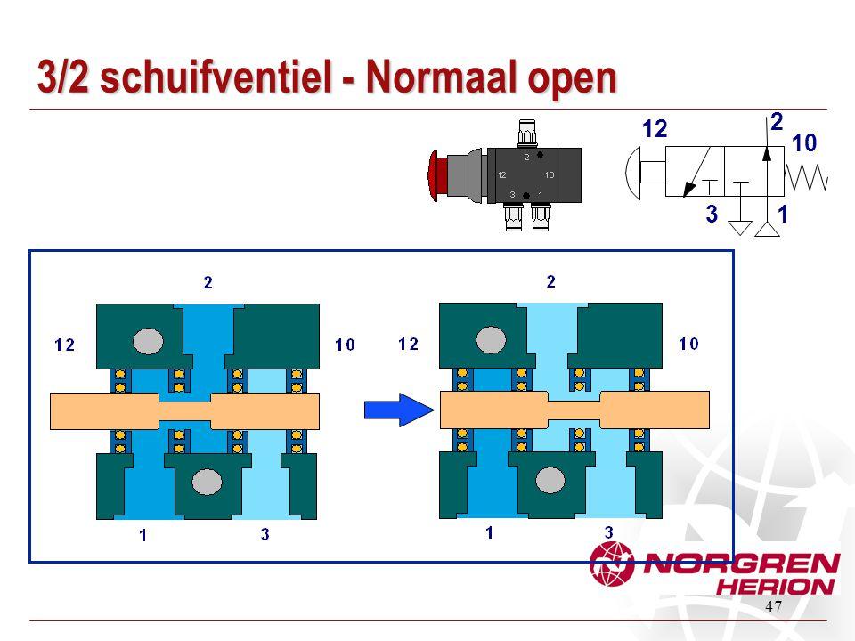 47 3/2 schuifventiel - Normaal open 1 2 3 12 10