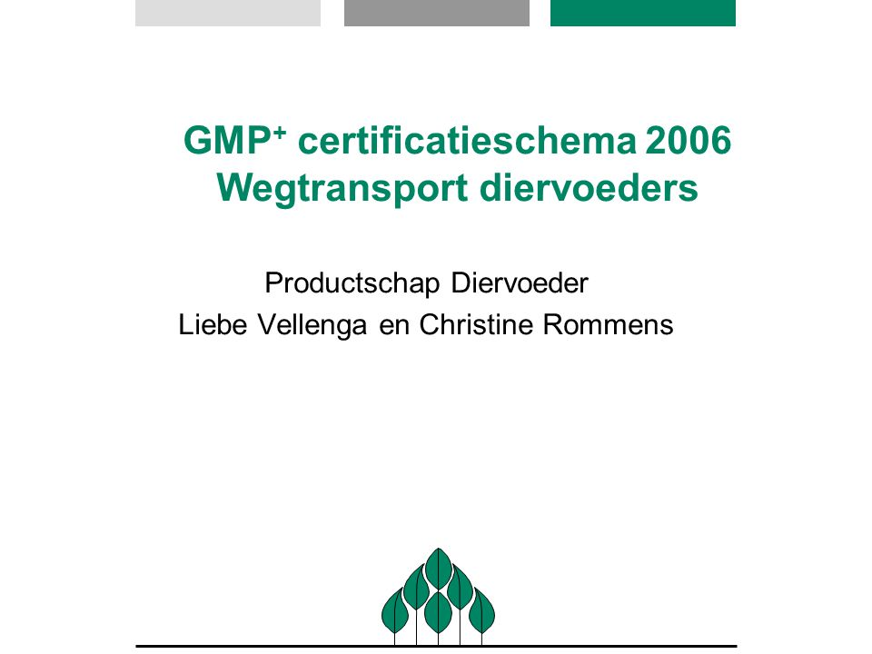 Ontwikkeling GMP programma 1992: start van het GMP programma 1995: Richtlijn 95/69 EG met basis kwaliteitseisen 2000/2001: start van het GMP + programma (GMP + HACCP) 2003: certificatie door CI's (i.p.v.