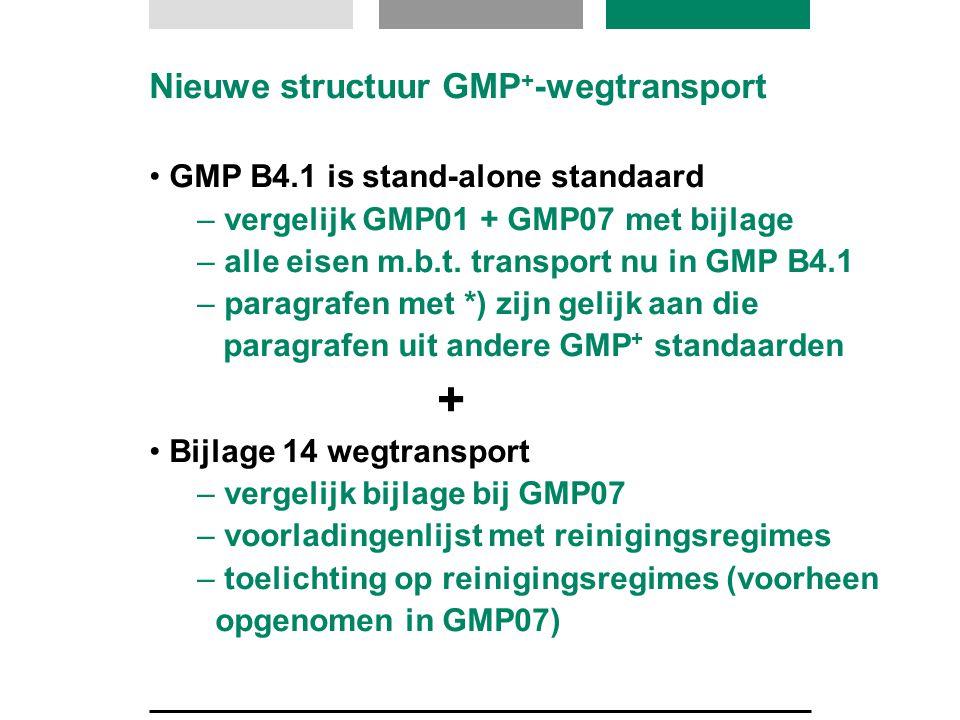Nieuwe structuur GMP + -wegtransport GMP B4.1 is stand-alone standaard – vergelijk GMP01 + GMP07 met bijlage – alle eisen m.b.t. transport nu in GMP B