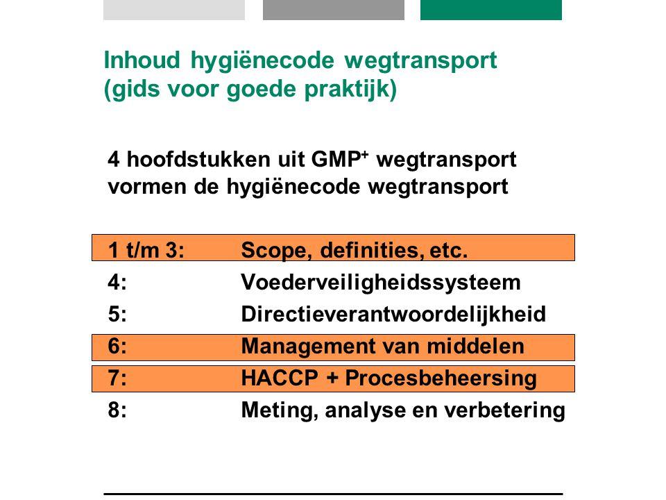 Inhoud hygiënecode wegtransport (gids voor goede praktijk) 4 hoofdstukken uit GMP + wegtransport vormen de hygiënecode wegtransport 1 t/m 3:Scope, def