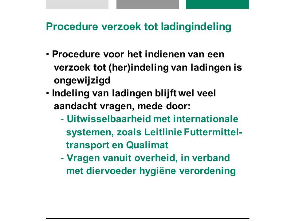Procedure verzoek tot ladingindeling Procedure voor het indienen van een verzoek tot (her)indeling van ladingen is ongewijzigd Indeling van ladingen b