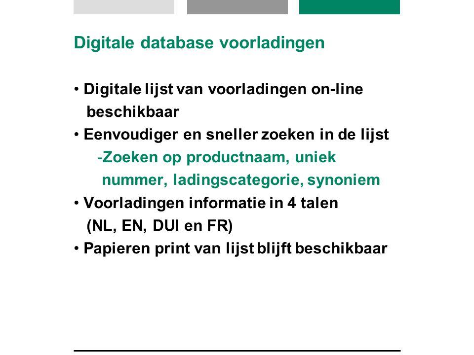 Digitale database voorladingen Digitale lijst van voorladingen on-line beschikbaar Eenvoudiger en sneller zoeken in de lijst -Zoeken op productnaam, u