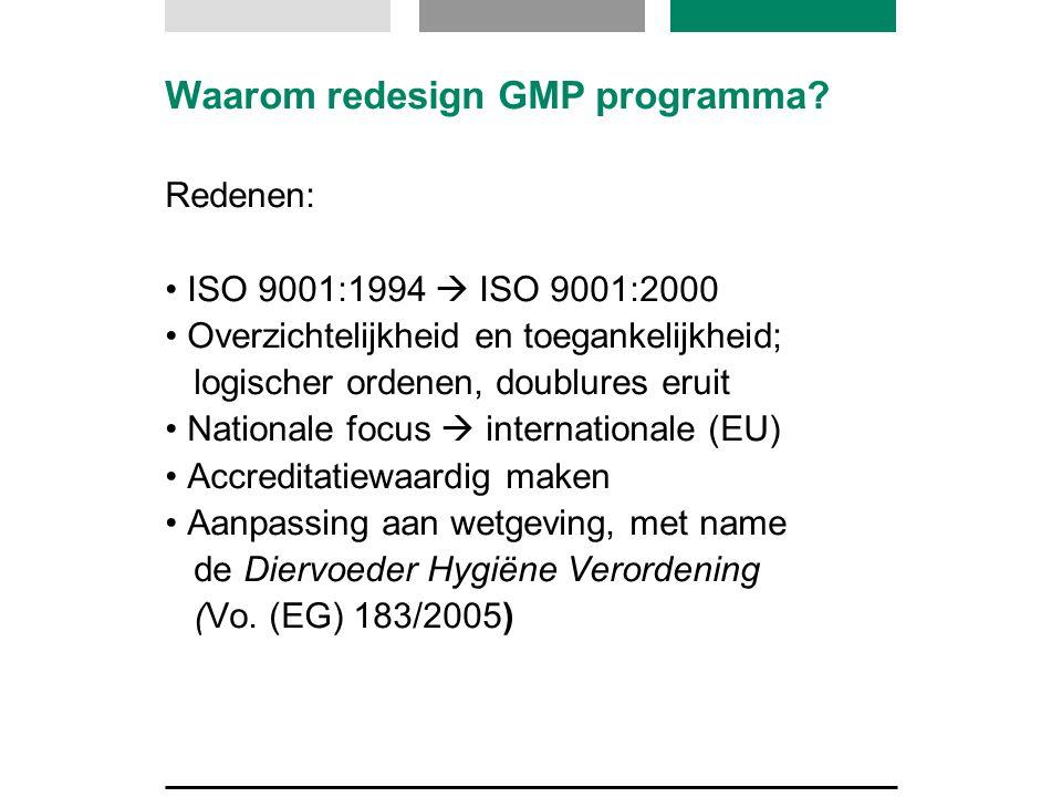Waarom redesign GMP programma? Redenen: ISO 9001:1994  ISO 9001:2000 Overzichtelijkheid en toegankelijkheid; logischer ordenen, doublures eruit Natio