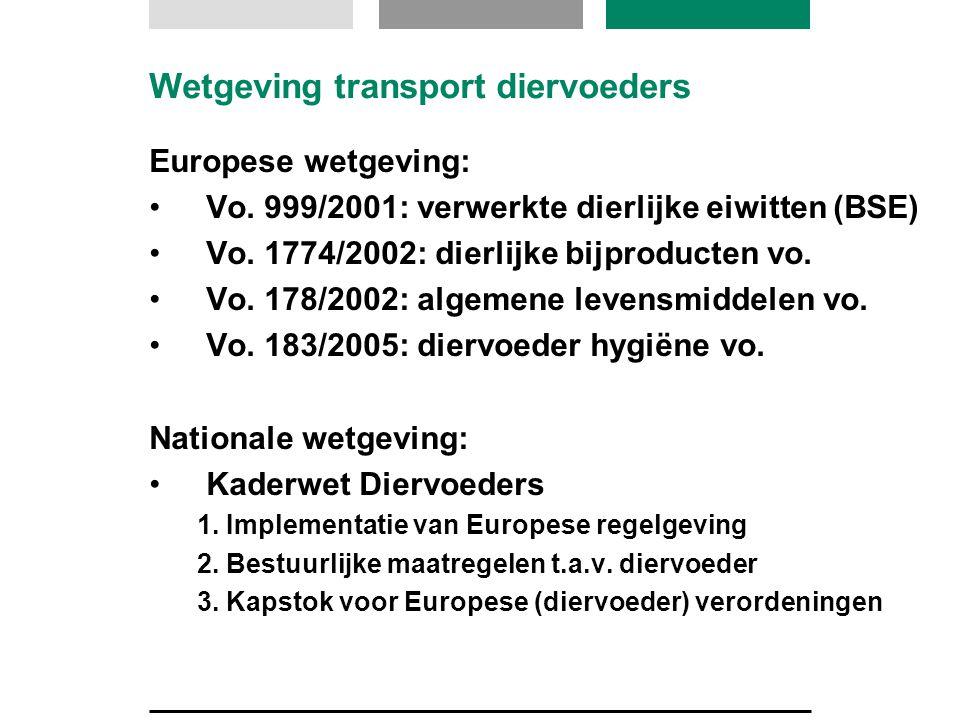 Wetgeving transport diervoeders Europese wetgeving: Vo. 999/2001: verwerkte dierlijke eiwitten (BSE) Vo. 1774/2002: dierlijke bijproducten vo. Vo. 178