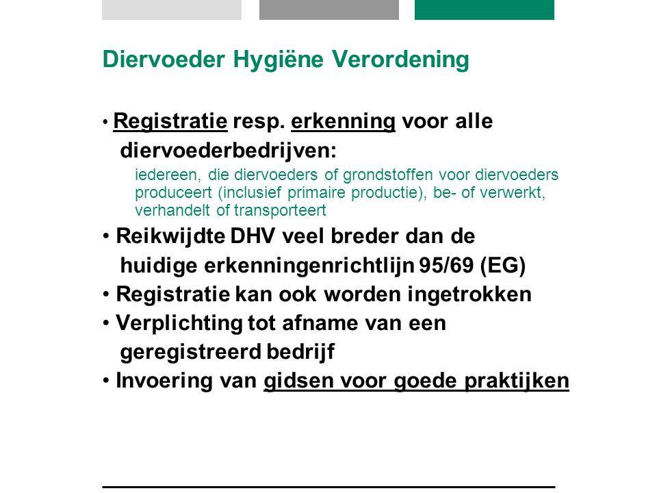Diervoeder Hygiëne Verordening Registratie resp. erkenning voor alle diervoederbedrijven: iedereen, die diervoeders of grondstoffen voor diervoeders p