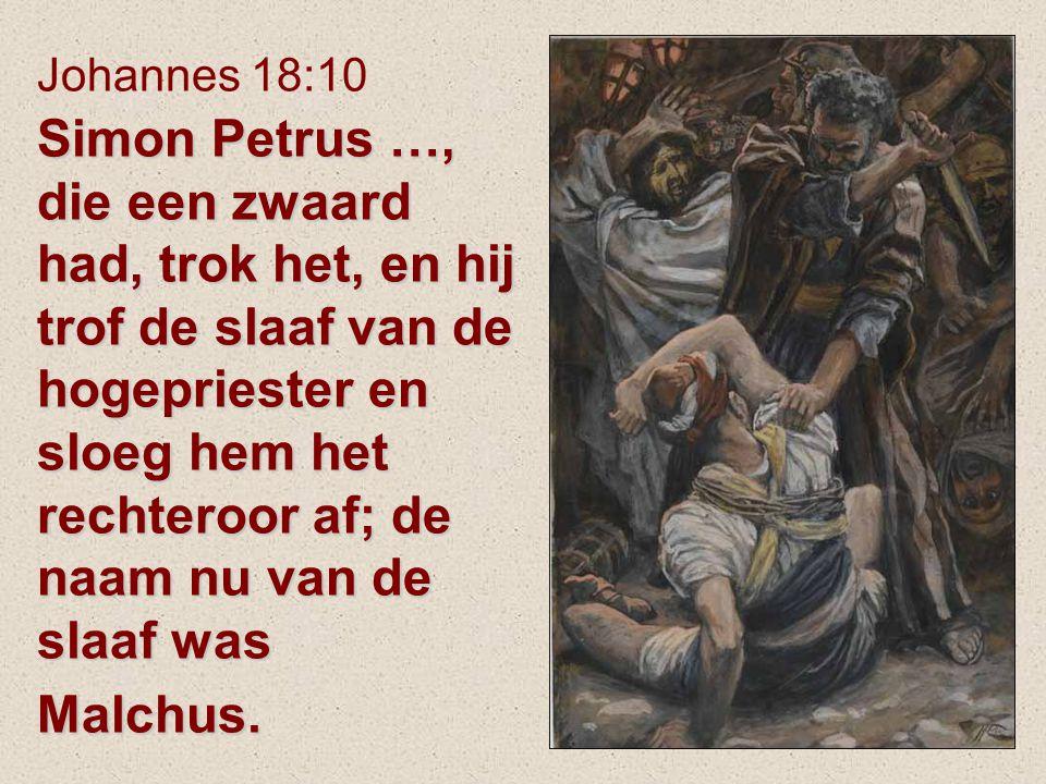 Simon Petrus …, die een zwaard had, trok het, en hij trof de slaaf van de hogepriester en sloeg hem het rechteroor af; de naam nu van de slaaf was Mal