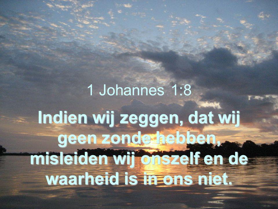 Indien wij zeggen, dat wij geen zonde hebben, misleiden wij onszelf en de waarheid is in ons niet. 1 Johannes 1:8 Indien wij zeggen, dat wij geen zond