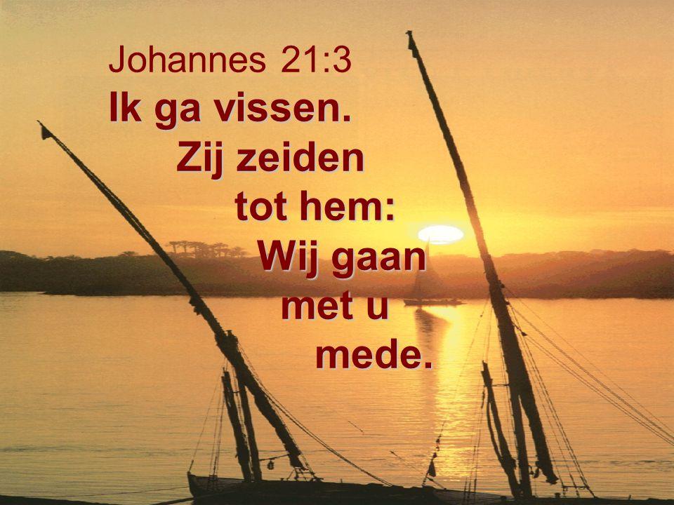Ik ga vissen. Zij zeiden tot hem: Wij gaan met u mede. Johannes 21:3 Ik ga vissen. Zij zeiden tot hem: Wij gaan met u mede.