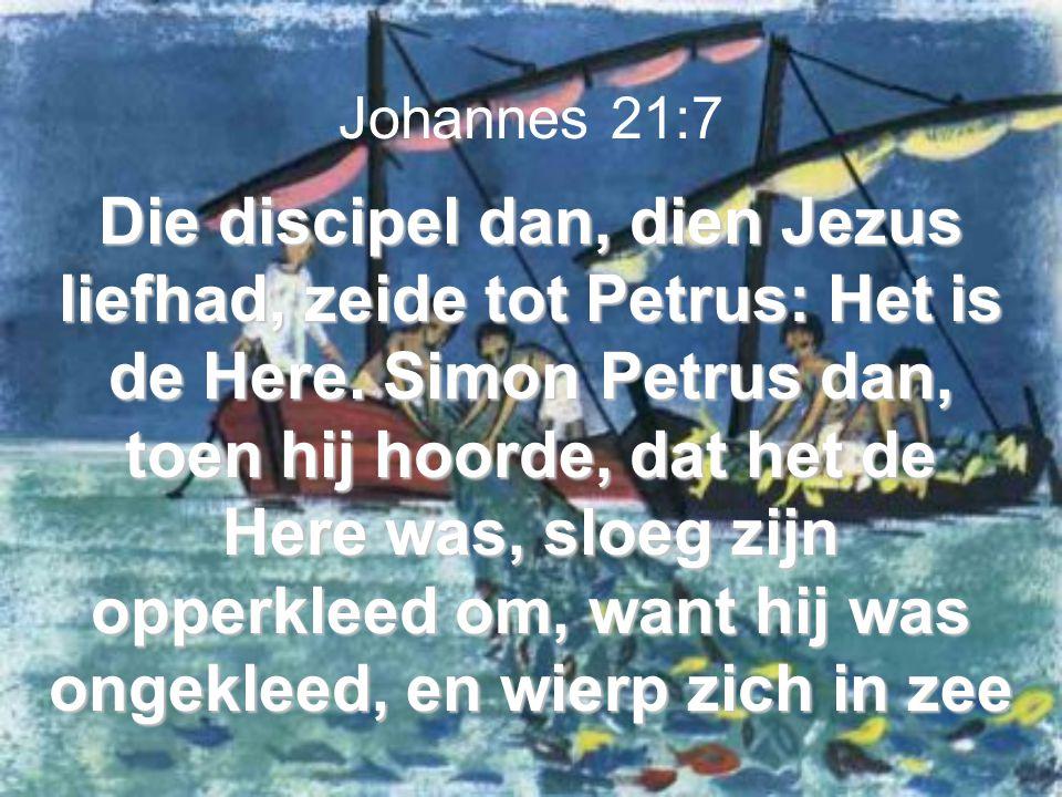 Die discipel dan, dien Jezus liefhad, zeide tot Petrus: Het is de Here. Simon Petrus dan, toen hij hoorde, dat het de Here was, sloeg zijn opperkleed