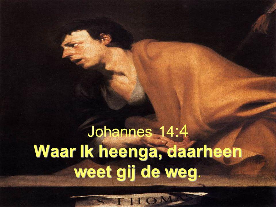 Waar Ik heenga, daarheen weet gij de weg Johannes 14 :4 Waar Ik heenga, daarheen weet gij de weg.