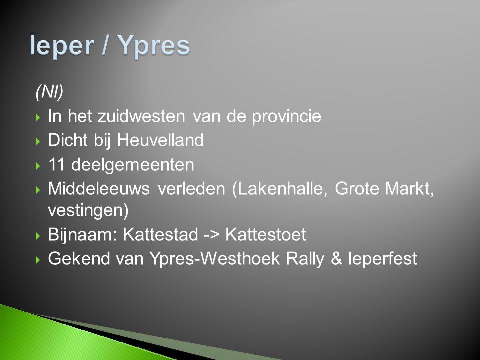 (Nl)  In het zuidwesten van de provincie  Dicht bij Heuvelland  11 deelgemeenten  Middeleeuws verleden (Lakenhalle, Grote Markt, vestingen)  Bijnaam: Kattestad -> Kattestoet  Gekend van Ypres-Westhoek Rally & Ieperfest