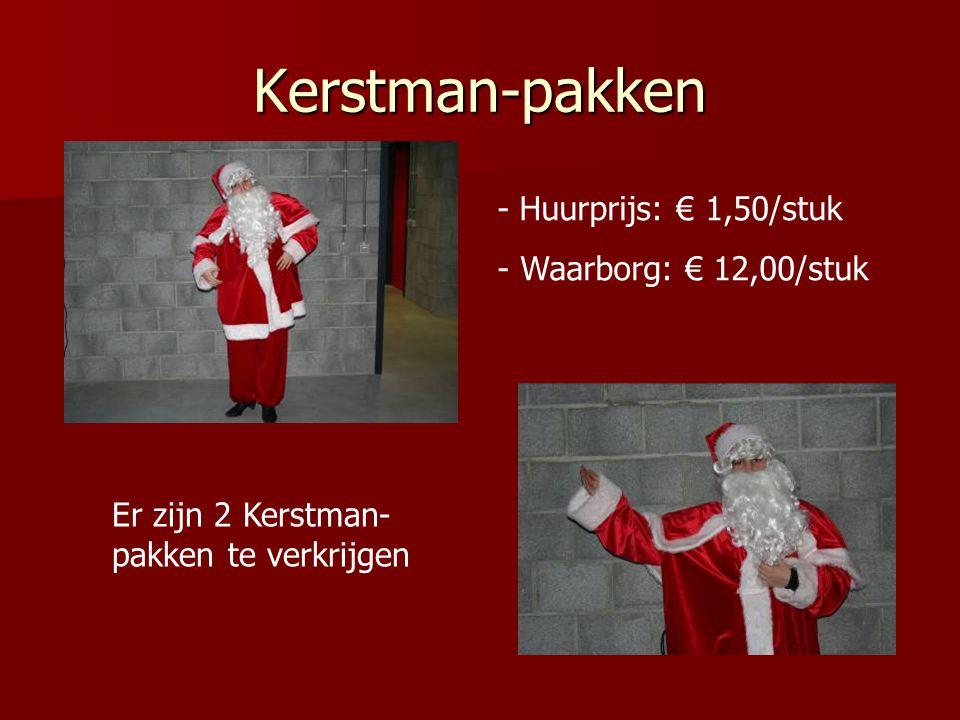 Kerstman-pakken - Huurprijs: € 1,50/stuk - Waarborg: € 12,00/stuk Er zijn 2 Kerstman- pakken te verkrijgen