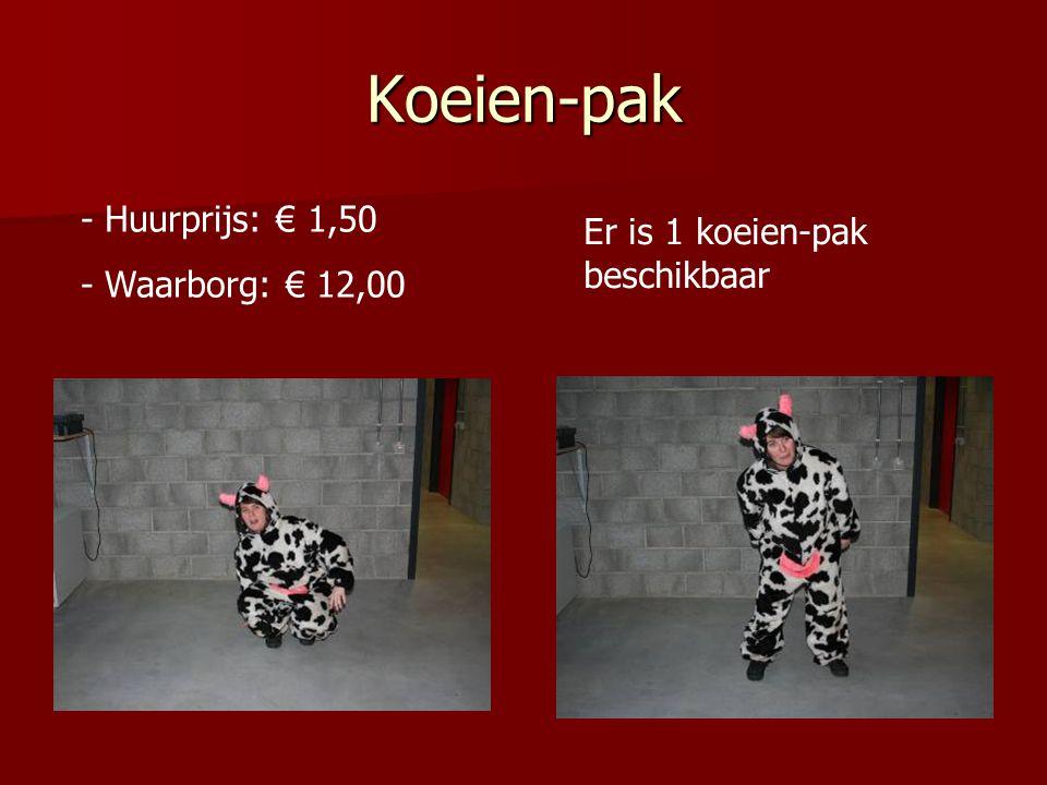 Koeien-pak - Huurprijs: € 1,50 - Waarborg: € 12,00 Er is 1 koeien-pak beschikbaar