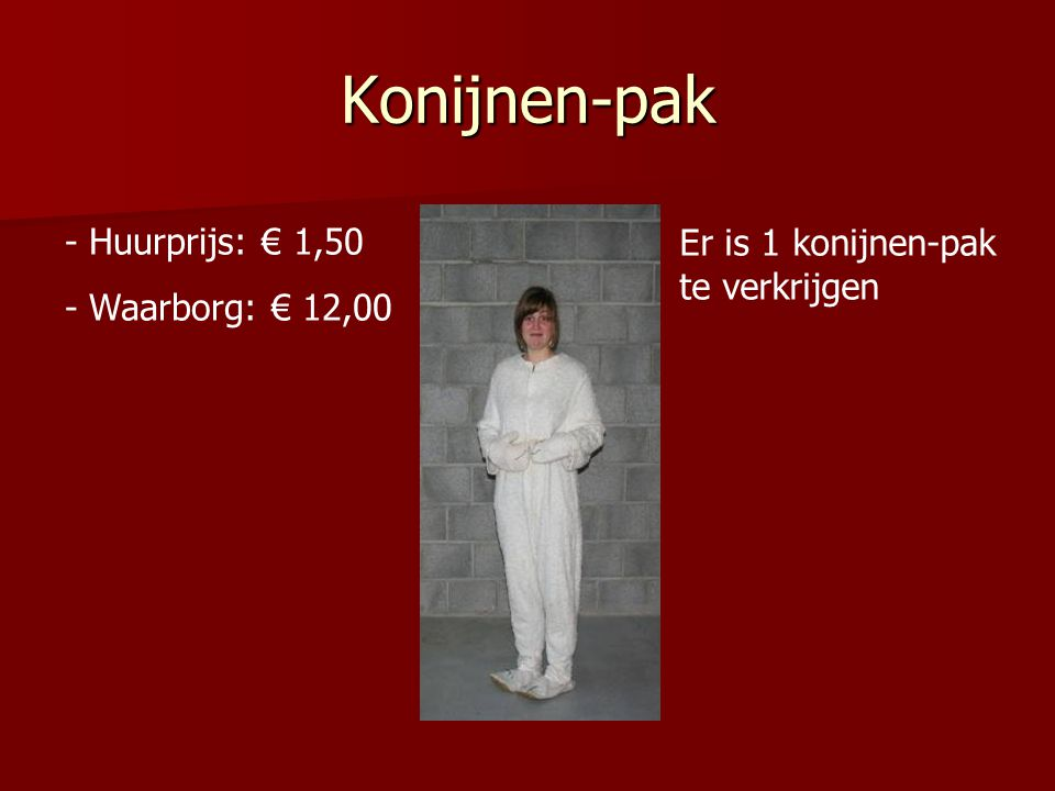 Konijnen-pak - Huurprijs: € 1,50 - Waarborg: € 12,00 Er is 1 konijnen-pak te verkrijgen
