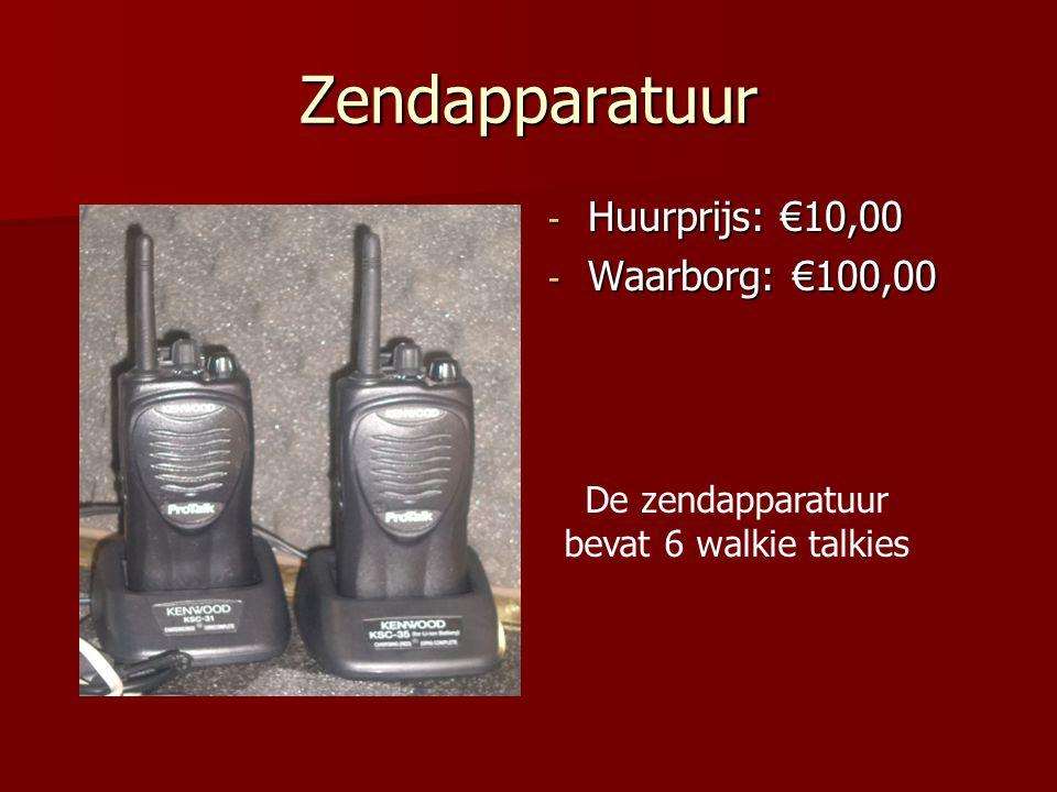 Zendapparatuur - Huurprijs: €10,00 - Waarborg: €100,00 De zendapparatuur bevat 6 walkie talkies