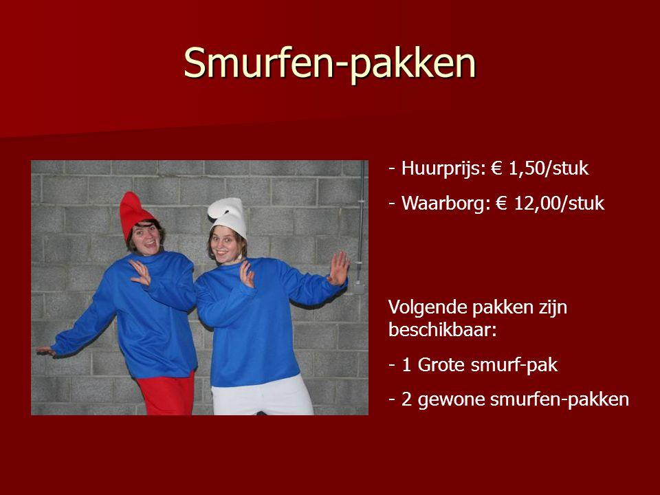 Smurfen-pakken - Huurprijs: € 1,50/stuk - Waarborg: € 12,00/stuk Volgende pakken zijn beschikbaar: - 1 Grote smurf-pak - 2 gewone smurfen-pakken