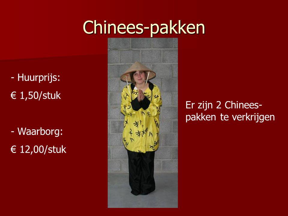 Chinees-pakken - Huurprijs: € 1,50/stuk - Waarborg: € 12,00/stuk Er zijn 2 Chinees- pakken te verkrijgen