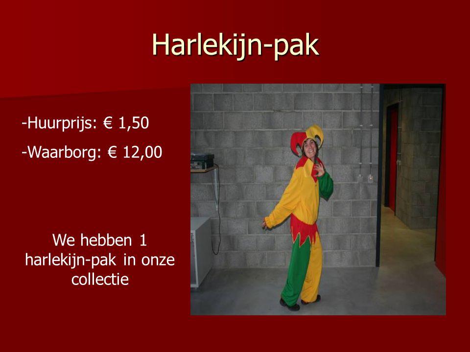 Harlekijn-pak -Huurprijs: € 1,50 -Waarborg: € 12,00 We hebben 1 harlekijn-pak in onze collectie