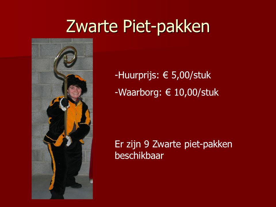 Zwarte Piet-pakken -Huurprijs: € 5,00/stuk -Waarborg: € 10,00/stuk Er zijn 9 Zwarte piet-pakken beschikbaar