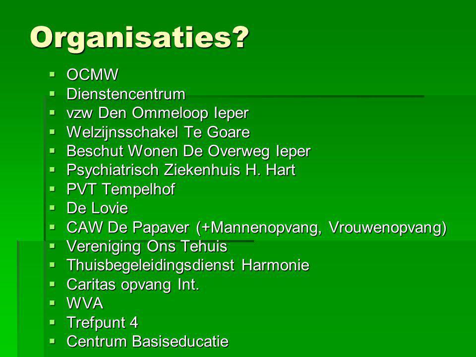 Organisaties?  OCMW  Dienstencentrum  vzw Den Ommeloop Ieper  Welzijnsschakel Te Goare  Beschut Wonen De Overweg Ieper  Psychiatrisch Ziekenhuis