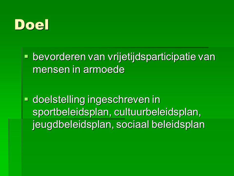 Doel  bevorderen van vrijetijdsparticipatie van mensen in armoede  doelstelling ingeschreven in sportbeleidsplan, cultuurbeleidsplan, jeugdbeleidspl