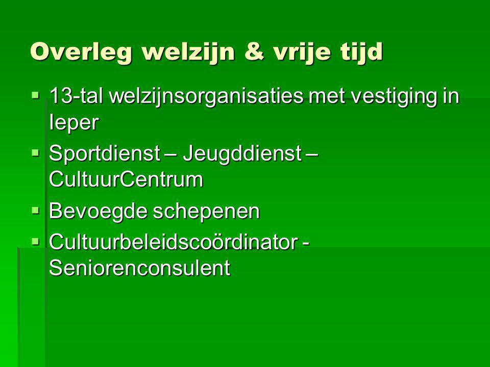 Overleg welzijn & vrije tijd  13-tal welzijnsorganisaties met vestiging in Ieper  Sportdienst – Jeugddienst – CultuurCentrum  Bevoegde schepenen 