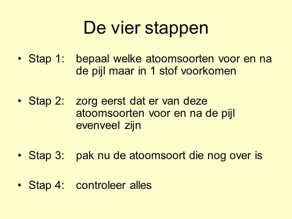 De vier stappen Stap 1: bepaal welke atoomsoorten voor en na de pijl maar in 1 stof voorkomen Stap 2: zorg eerst dat er van deze atoomsoorten voor en